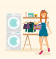 woman housewife washes clothes laundry room vector image