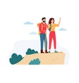 young woman and man hiking in mountains couple vector image