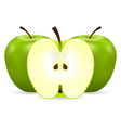 two whole and half green apples vector image