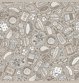 cartoon cute hand drawn fast food seamless pattern vector image