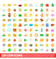 100 coin icons set cartoon style vector image vector image