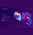 account verification isometric landing page banner vector image