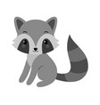 adorable raccoon in flat style vector image vector image
