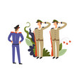 army commander and soldiers with riffles obeyin vector image vector image