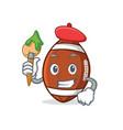 artist american football character cartoon vector image vector image