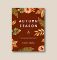 autumn themed poster design with plants concept vector image vector image