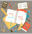 back to school note pad on table top view vector image vector image