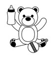 bear milk bottle and rattle vector image