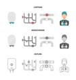 boiler plumber ventils and pipesplumbing set vector image vector image