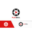 button play and soccer logo combination vector image vector image