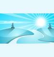 cartoon snow landscape sun snow fir mountine vector image vector image