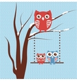 Christmas card with owls family sitting on the vector image