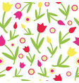 colorful cute floral tulips seamless pattern vector image