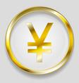 concept golden yuan symbol logo button vector image vector image