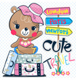 cute cartoon teddy bear girl sitting on suitcase vector image vector image