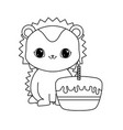 cute porcupine animal with cake birthday vector image vector image
