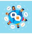diverse friends translating online conversation vector image vector image