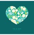 emerald flowerals heart silhouette pattern vector image