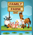 farm animals by the river vector image