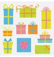 Gift box icon set Colorful cartoon collection vector image vector image