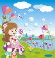 girl blowing bubbles in flowers garden vector image vector image