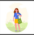 girl is holding eco bag with recycling symbol vector image vector image