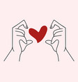 hand with hand shaped heart vector image vector image