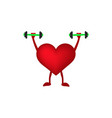 heart with dumbbells in hand vector image vector image