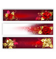 horizontal banners with jewelry roses vector image vector image