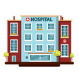 hospital flat design building isolated on white vector image vector image