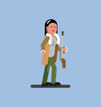 hunter girl with gun and jacket vector image