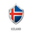 iceland flag on metal shiny shield vector image