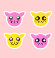 isolated icons with cute animal faces vector image vector image