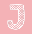 J alphabet letter with white polka dots on pink vector image vector image