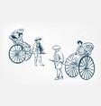 japanese rickshaw traditional sketch ink design vector image