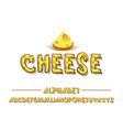 latin alphabet - cheese trend font 2018 color in vector image vector image