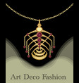 luxury art deco filigree pendant unusual jewel vector image vector image