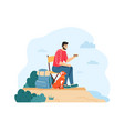 man with dog hiking and having summer trip guy vector image vector image