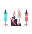 mannequins with clothes dresses and shorts vector image