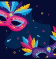 masks with feather carnival vector image vector image