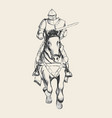 Medieval knight on horse carrying a lance