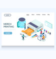 merch printing website landing page design vector image