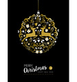 Merry christmas new year gold deer ornament ball vector image
