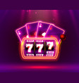 neon slot machine playing cards wins jackpot vector image vector image
