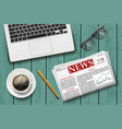 newspaper with a cup of coffee vector image