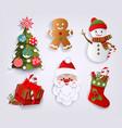 paper cut set of christmas decoration elements vector image vector image