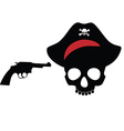 Pirate skull with revolver vector image vector image