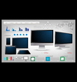 Realistic computer With infographics vector image vector image