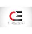 red and black ce c e letter logo design creative vector image vector image