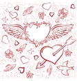 Red heart wings Heart pierced by an arrow vector image